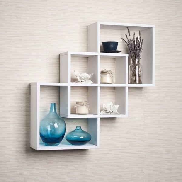 Danya B Intersecting Squares Decorative White Wall Shelf