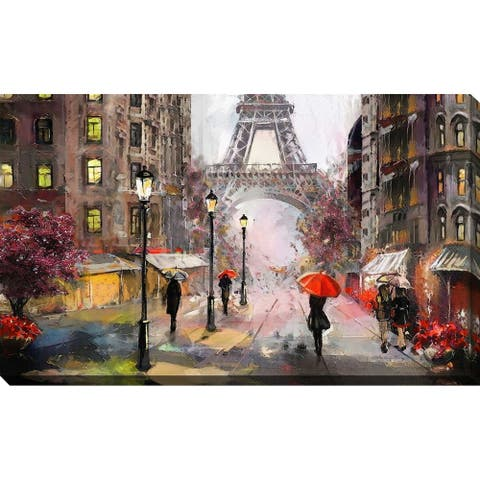 """PARIS"" Framed Watercolor Painting Print on Canvas"