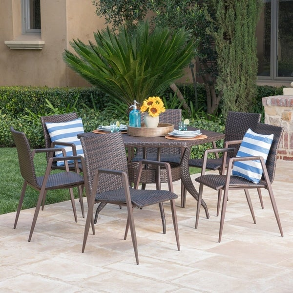 Gybson Outdoor 7 Piece Hexagon Wicker Dining Set By Christopher Knight Home