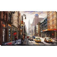 """NEW YORK"" Framed Watercolor Painting Print on Canvas"