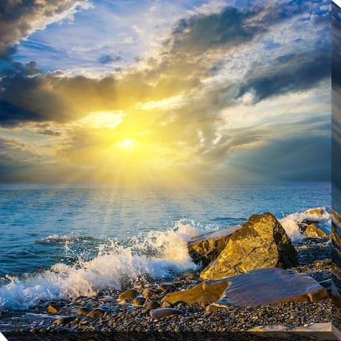 """""""BEACH SUNSET 2"""" Framed Print on Canvas"""