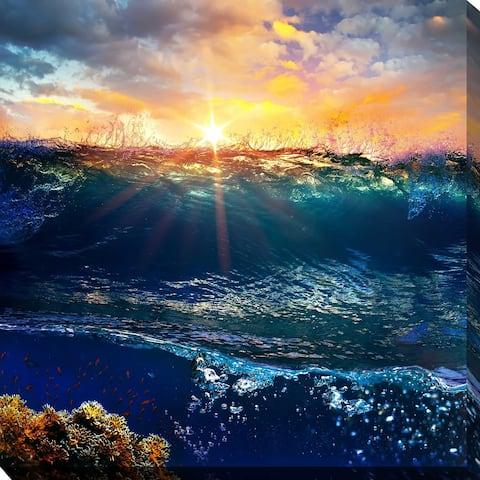 """OCEAN WAVES 4"" Framed Print on Canvas"