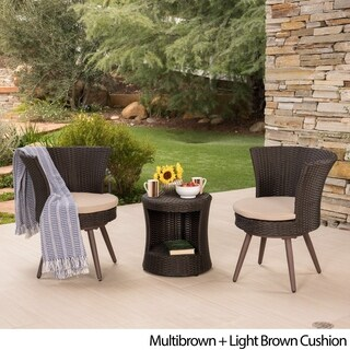 Harlow Outdoor 3-Piece Round Wicker Bistro Chat Set with Cushions by Christopher Knight Home