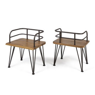Zion Outdoor Industrial Acacia Wood Club Chair (Set of 2) by Christopher Knight Home