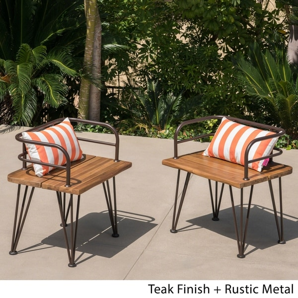 Zion Outdoor Industrial Acacia Wood Club Chair (Set of 2) by Christopher Knight Home. Opens flyout.