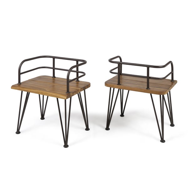 Zion Outdoor Industrial Acacia Wood Club Chair (Set of 2) by ...