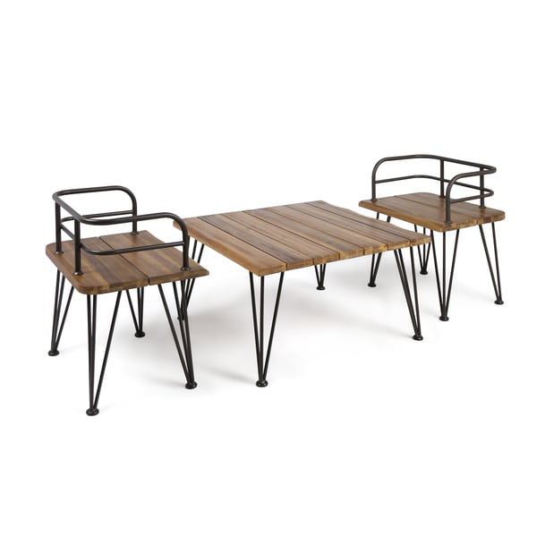 Zion Outdoor 3-piece Industrial Acacia Wood Chat Set by ...