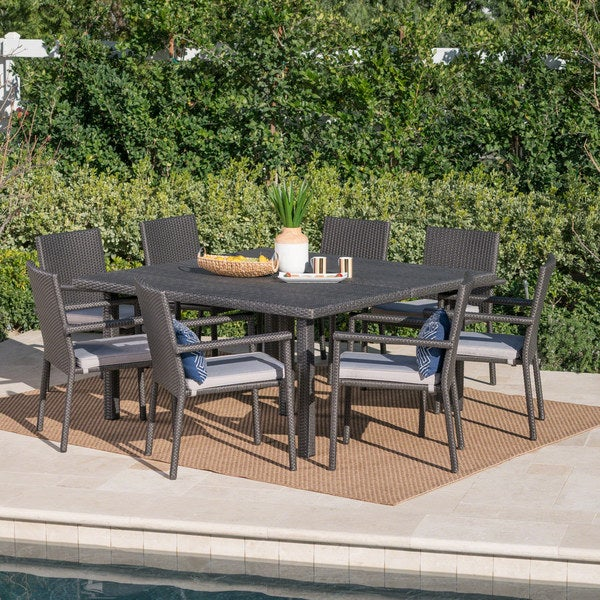 Gaston Outdoor 9-piece Square Wicker Dining Set with Cushions by Christopher Knight Home