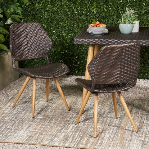 Laryn Outdoor Wicker Dining Chair (Set of 2) by Christopher Knight Home