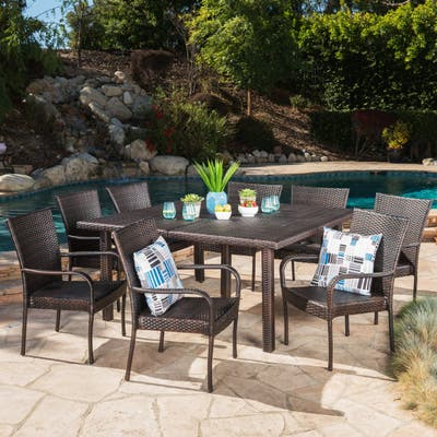 Fiona Outdoor 9-piece Wicker Dining Set by Christopher Knight Home