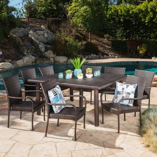 Link to Fiona Outdoor 9-piece Square Wicker Dining Set by Christopher Knight Home Similar Items in Outdoor Dining Sets