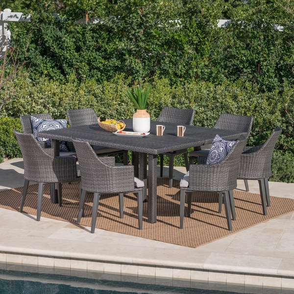 Arnell Outdoor 9-piece Square Wicker Dining Set with Cushions by Christopher Knight Home. Opens flyout.