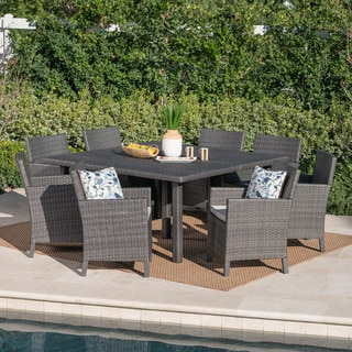 Arcade Outdoor 9-piece Square Wicker Dining Set with Cushions by Christopher Knight Home