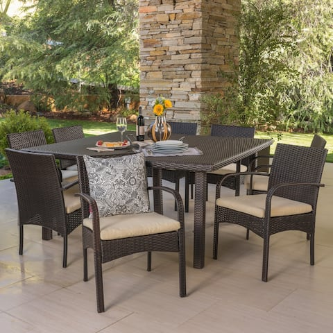 Chadney Outdoor 9-piece Square Wicker Dining Set with Cushions by Christopher Knight Home