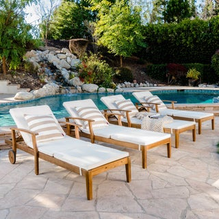 Perla Outdoor Acacia Wood Chaise Lounge with Cushion (Set of 4) by Christopher Knight Home