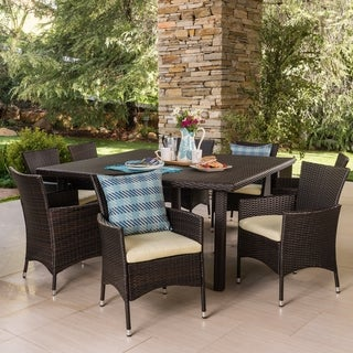 Aristo Outdoor 9-piece Square Wicker Dining Set with Cushions by Christopher Knight Home