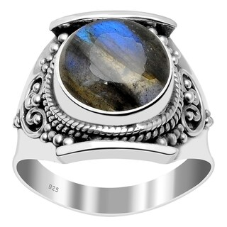 Handmade Sterling Silver Round Cabochon Antique-style Ring