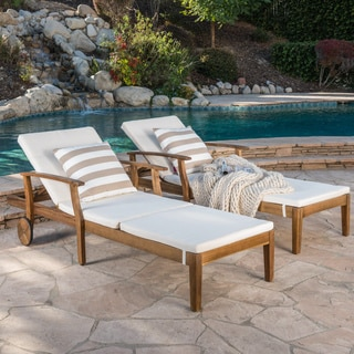 Shop perla outdoor acacia wood chaise lounge with cushion for Outdoor loungemobel sale