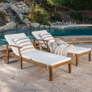 Perla Outdoor Acacia Wood Chaise Lounge With Cushion (Set Of 2) By  Christopher Knight