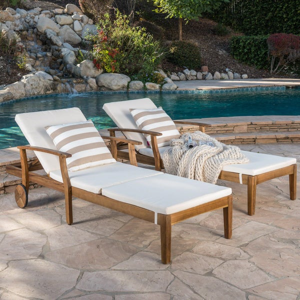 shop perla outdoor acacia wood chaise lounge with cushion set of 2 by christopher knight home. Black Bedroom Furniture Sets. Home Design Ideas