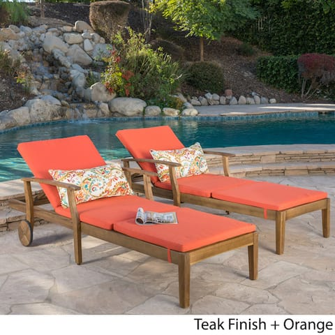 Perla Acacia Wood Chaise Lounge with Cushions (Set of 2) by Christopher Knight Home