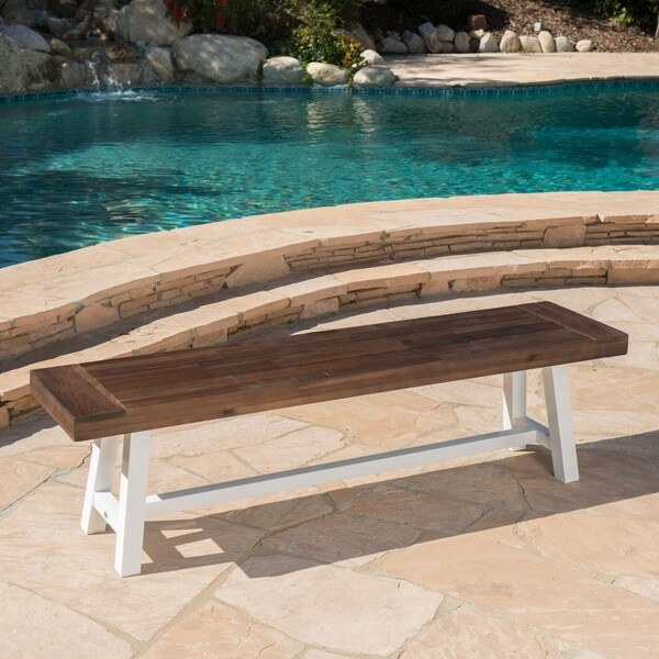 Jubilee Farmhouse Rectangle Acacia Wood Picnic Dining Bench by Christopher Knight Home