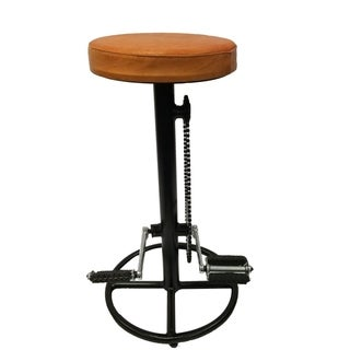 The Urban Port Industrial Style Bicycle Wheel Design Pedal Barstool With Tan Leather Seat
