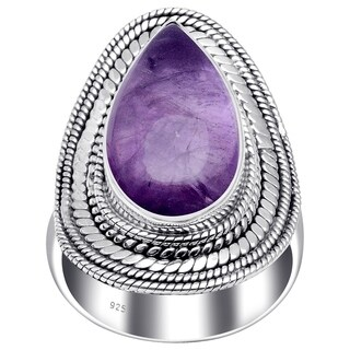 Sterling Silver Handmade Pear-shaped Cabochon-cut Ring with Choice of Gemstone