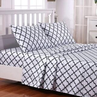 4-Piece Deep Pocket Quatrefoil Pattern Luxury Ultra Soft Bed Sheet Set