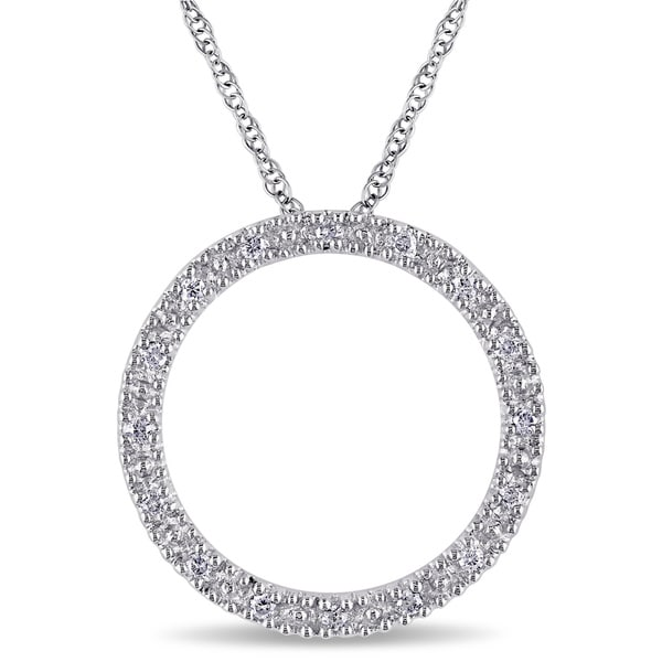 Miadora 10k White Gold 1/10ct TDW Diamond Circle Necklace