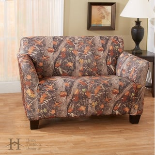 Kings Camo Woodland Shadow Printed Stretch Fit Form Fitting Love Seat Slipcover