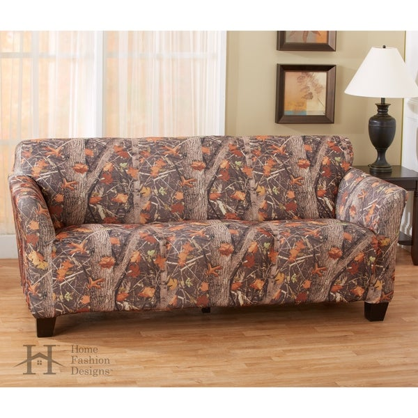 Delightful Kings Camo Woodland Shadow Printed Stretch Fit Form Fitting Sofa Slipcover