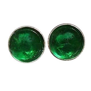 Handmade Recycled Vintage 1960's Green Beer Bottle Sterling Silver Post Earrings (United States)