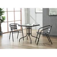 Porthos Home Indoor-Outdoor Metal Restaurant Stack Chair, Set of 2