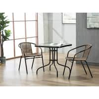 Porthos Home Tempered Glass and Square Bistro Style Small Patio Table