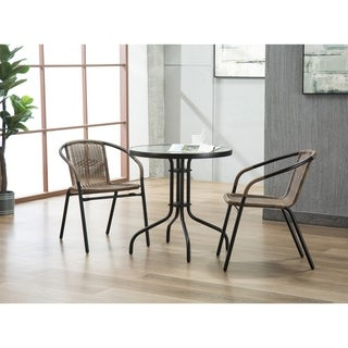 Porthos Home Tempered Glass and Round Bistro Style Small Patio Table