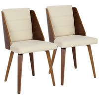 Galanti Mid-Century Modern Dining/Accent Chair in Wood and Faux Leather (Set of 2)