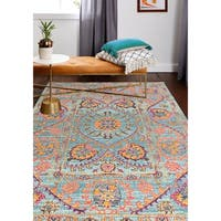 """Brewster Teal Transitional  Area Rug - 7'7"""" x 9'6"""""""