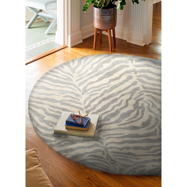 Georgia Lt.Blue Contemporary Round Area Rug - 8' x 8'