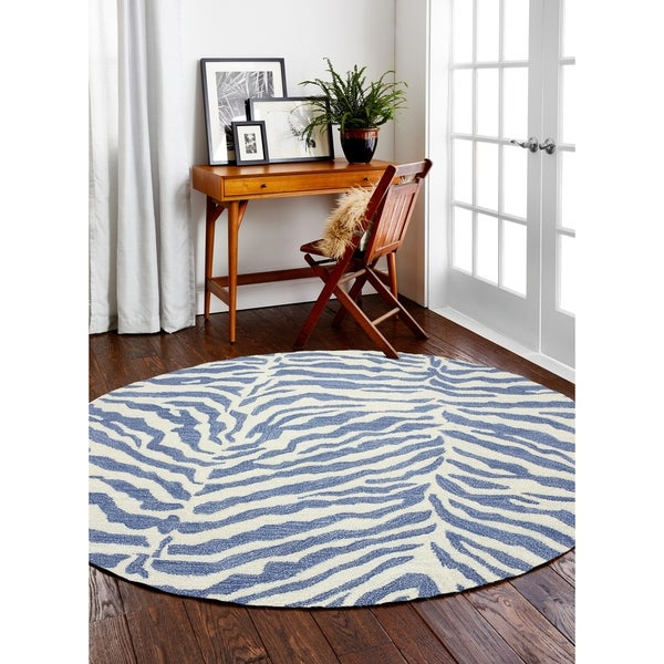 Georgia Denim Contemporary Round Area Rug - 6' x 6'