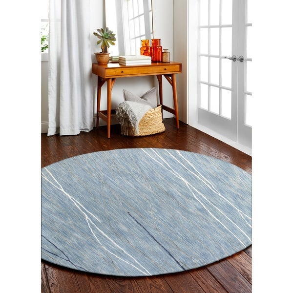 Sydney Lt.Blue Contemporary Round Area Rug - 8' x 8'