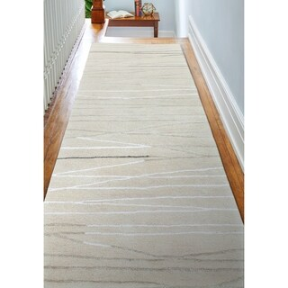 "Sydney Ivory Contemporary  Area Rug - 2'6"" x 8' Runner"