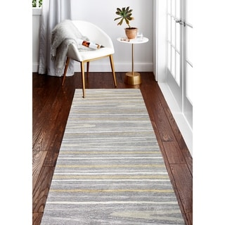 "Alison Grey Contemporary  Area Rug - 2'6"" x 8' Runner"