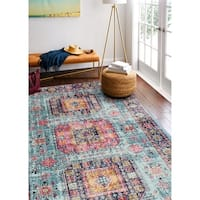 """Fausto Teal Transitional  Area Rug - 7'6"""" x 9'6"""""""