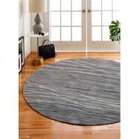 Sydney Grey Contemporary 6' Round Area Rug - 6' x 6'