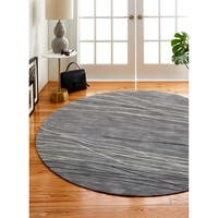 Sydney Grey Contemporary  Round Area Rug - 6' x 6'