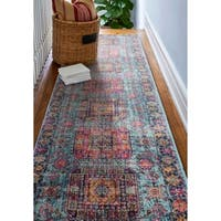 """Fausto Teal Transitional  Area Rug - 2'6"""" x 8' Runner"""
