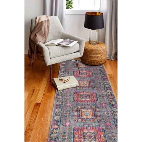 "Fausto Grey Transitional Area Rug - 2'6"" x 8' Runner"