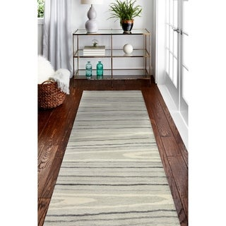 "Alison Silver Contemporary  Area Rug - 2'6"" x 8' Runner"