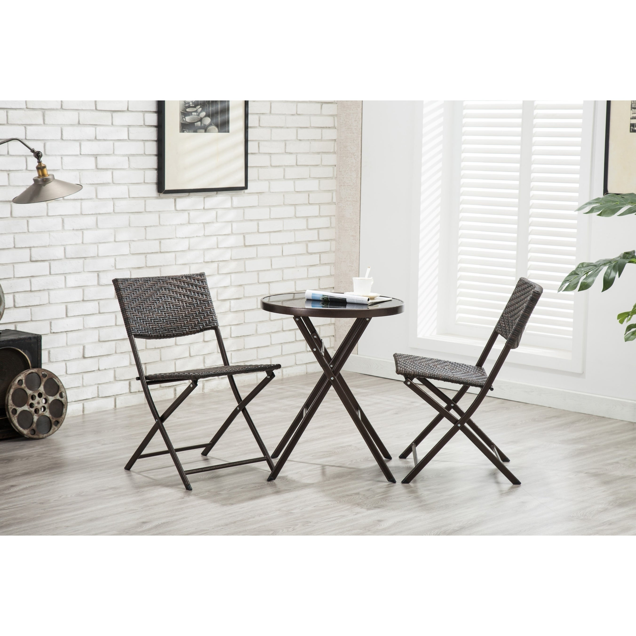 Porthos Home All-Weather Folding Metal Bistro Style Chair, Set of 2 (Brown)
